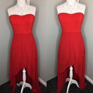 Warm Red Flowy Maxi High Low Dress